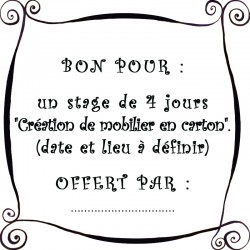 """Bon pour un stage """"Création de mobilier en carton"""""""